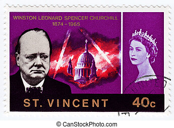 ST. VINCENT - CIRCA 1990 : Stamp printed in St. Vincent shows Winston Churchill (L) great prime minister in UK and queen Elizabeth, circa 1990