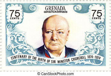 vintage stamp with Winston Churchill