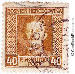 Bosnia, y, HERZEHOVINA, -, hacia, 1917:, estampilla,...