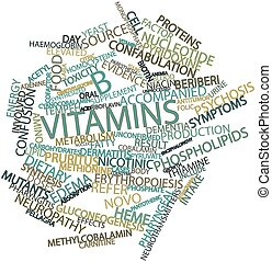 B vitamins - Abstract word cloud for B vitamins with related...