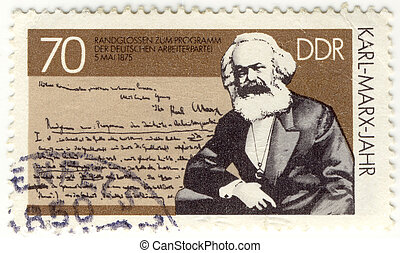 vintage stamp with German philosopher, creator of communism...
