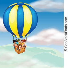 kids in hot air balloon - illustration of a kids in hot air...