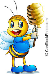 honey bee - illustration of a honey bee on a white...