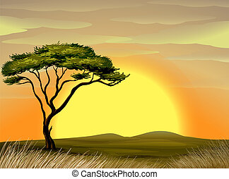 landscape - illustration of a beautiful landscape and tree