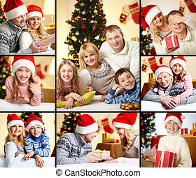 Family on Christmas - Collage of happy family members on...