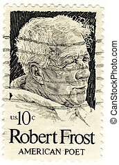 vintage stamp of Robert Frost