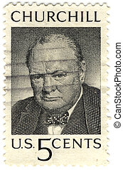 vintage stamp from USA with Winston Churchill
