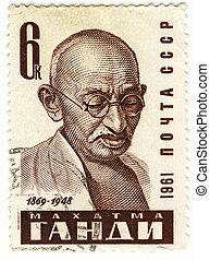 vintage stamp with Mahatma Gandhi - vintage USSR stamp with...