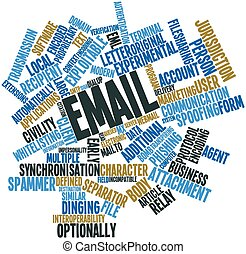 Email - Abstract word cloud for Email with related tags and...