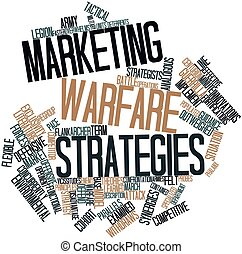 Marketing warfare strategies - Abstract word cloud for...