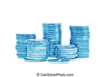 Piles of golden coins (isolated, blue toned)