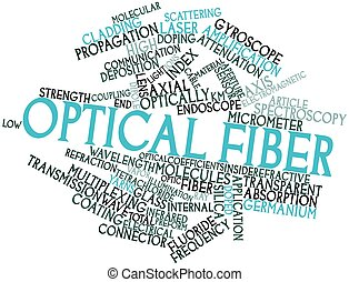 Optical fiber - Abstract word cloud for Optical fiber with...