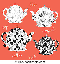 Teapots icons with floral patterns set