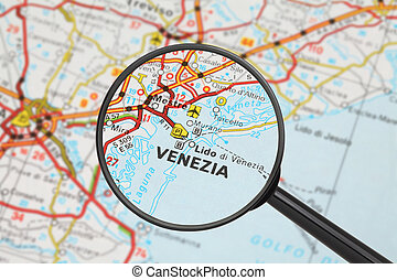 Destination - Venice (with magnifying glass) - Tourist...