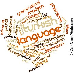 Turkish language - Abstract word cloud for Turkish language...