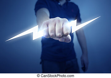 Electric Bolt - A man holding a stylized electric bolt.