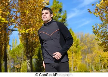 Running in sunny park