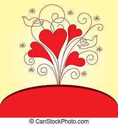 Love Valentinei card with hearts