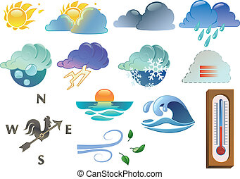 weather symbols coloured only with linear gradients. Each...