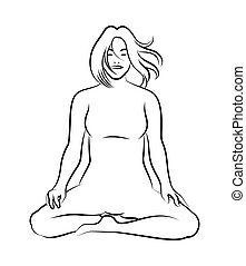 meditation pose - Black and white meditation pose Characters...