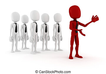3d man leader in front of a crowd of 3d men gesturing to...