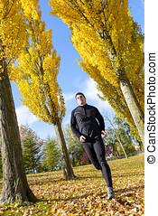 Sportsman running in autumn