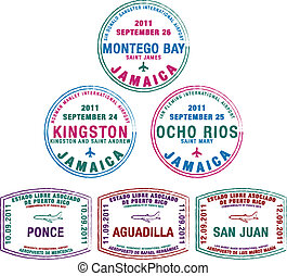 Passport Stamps - Passport stamps from Jamaica and Puerto...