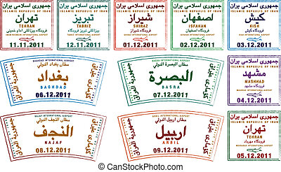 Iraq & Iran - Stylized passport stamps from Iran and Iraq in...