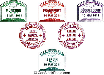 Passport Stamps - Passport stamps from Germany and...