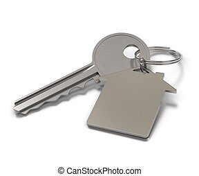 key and metal keyring with room for text over white...