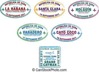 Passport Stamps - Passport stamps from Cuba and the Cayman...