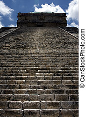 the stairs of temple - the stairs of chichen itza...