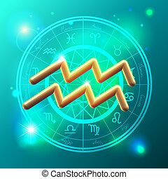 Zodiac Aquarius golden sign - Golden Zodiac decorative...