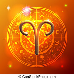 Zodiac Aries golden sign - Golden Zodiac decorative vector...