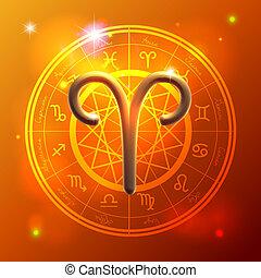 zodiaque, bélier, Doré, signe