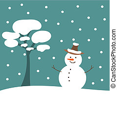 Christmas snowman - Christmas scene in nature - snowman and...