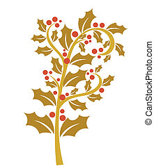 Gold holly berry - Holly berry - gold branch with red...