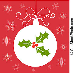 Christmas bauble card - Christmas bauble with holly berry...