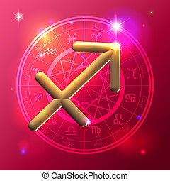 Zodiac Sagittarius golden sign - Golden Zodiac decorative...