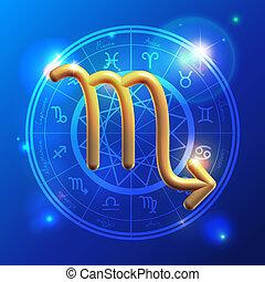 Zodiac Scorpio golden sign - Golden Zodiac decorative vector...