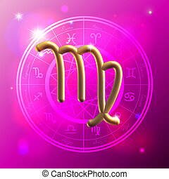 Zodiac Virgo golden sign - Golden Zodiac decorative vector...