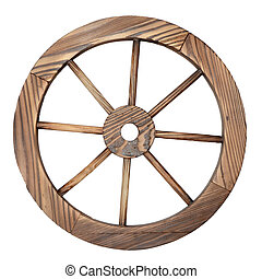 Old wooden wagon wheel on white - one old wooden wagon wheel...