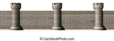 Gothic Castle Wall Front - A front view of a gothic brick...
