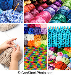 Threads collage - Knitting and crocheting threads in the...
