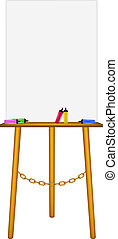 Wooden easel and highlighters