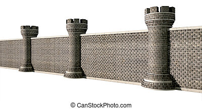Gothic Castle Wall Perspective - A perspective view of a...