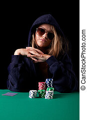 Woman playing poker - Very beautiful woman playing texas...