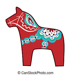 Wooden horse - Red wooden horse - national symbol of Sweden
