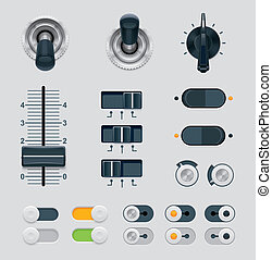 Vector UI dials set - Set of the detailed switches, sliders...