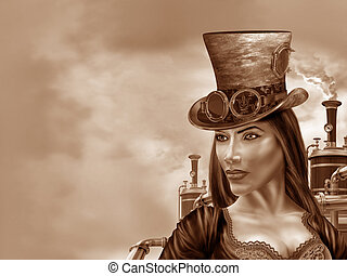 Steampunk Woman - Illustration of a steampunk woman in an...